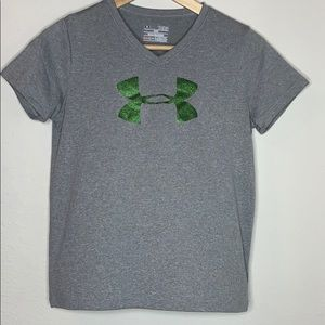 Youth Large Grey and Green Under Armour Top